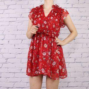Zara red floral ruffle mini short sleeve dress c2